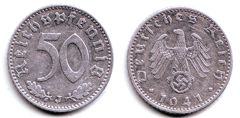 50 Pfennig 1941 J Deutsches Reich Kursmünze Vf Ef Ma Shops