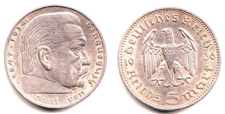 5 Reichsmark 1936 A Drittes Reich Paul Von Hindenburg Vf Ef Ma Shops