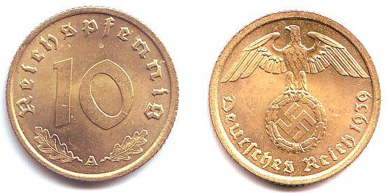 10 pfennig монеты 19