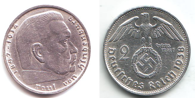 2 Reichsmark 1938 B Drittes Reich Paul Von Hindenburg Mit Hakenkreuz