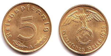 5 Reichspfennig 1939 A Drittes Reich 5 Reichspfennig Mit