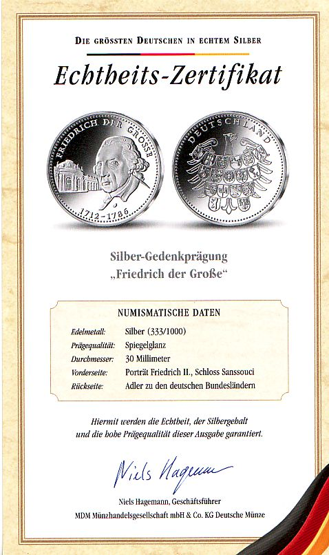 Medaille Deutschland Silbergedenkprägung - Friedrich der Große - mit ...