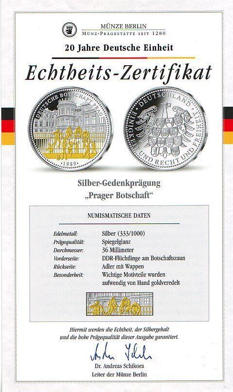 1989 Deutschland Silbergedenkprägung - Prager Botschaft ...