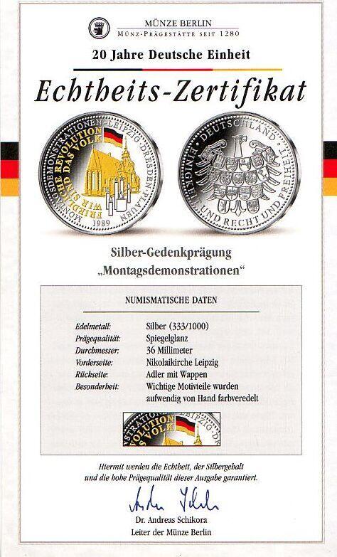 1989 Deutschland Silbergedenkprägung Montagsdemonstration ...