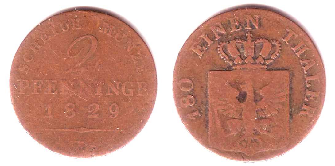 2 Pfennig 1829 D Brandenburg Preussen König Friedrich Wilhelm Iii
