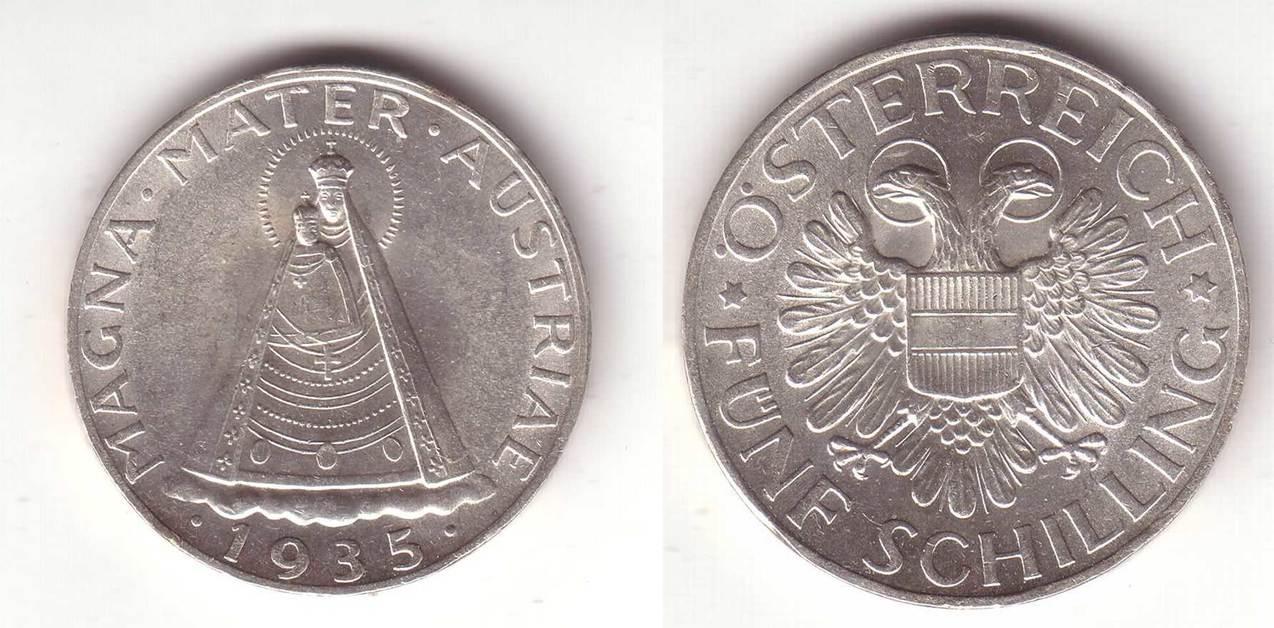 5 Schilling 1935 österreich Mariazell Magna Mater Unc Ma Shops