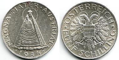 5 Schilling 1934 österreich Silbermünze Magna Mater Mariazell