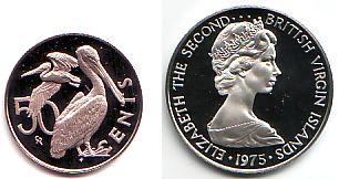 50 Cents 1976 Jungferninseln British Vergin Islands Kupfer Nickel