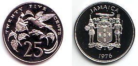 25 Cents 1976 Jamaica Kupfer Nickel Münze Kolibri Doktorvogel