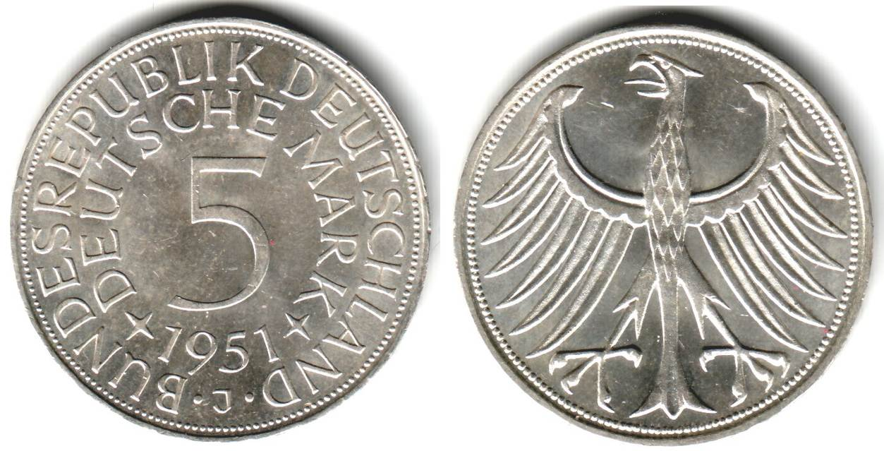 5 Mark 1951 J Deutschland 5 Mark Silbermünze Kursmünze Spl Ma Shops