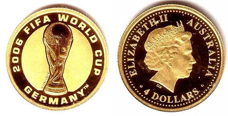 4 Dollar 2006 Australien 4 Dollar Goldmunze Fussball Wm Deutschland 2006 Fifa Pokal Proof