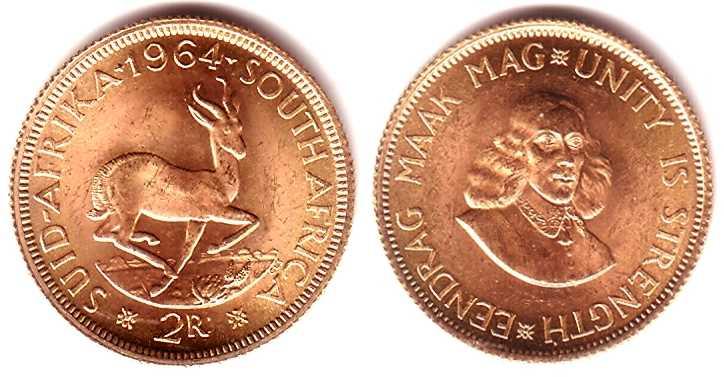 2 Rand 1964 Südafrika Goldmünze - Jan van Riebeek BU (MS65-70)