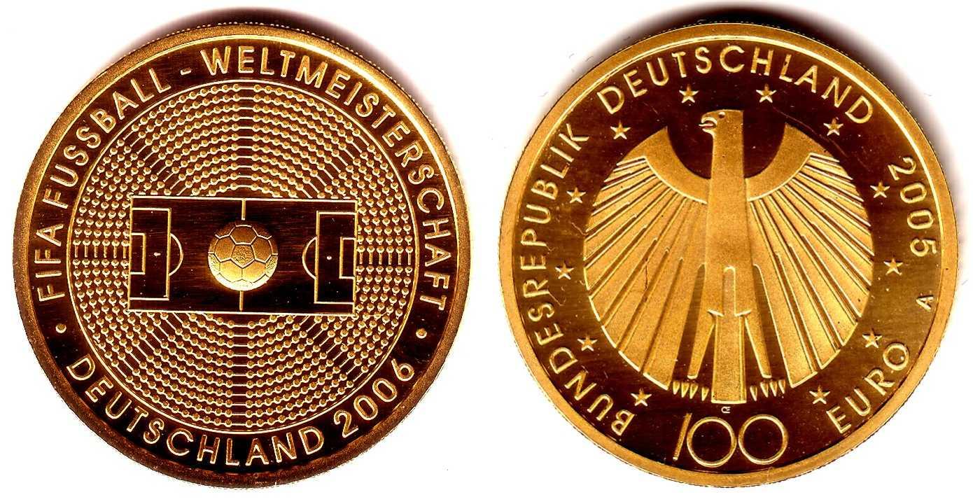 100 Euro 2005 A Deutschland 1/2 Unze Goldmünze - Fußball-WM 2006 BU (MS65-70) mit Box+ Echtheitszertifikat