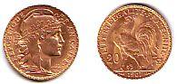 20 Franc 1898-1914 Frankreich Marianne-Gallischer Hahn UNC