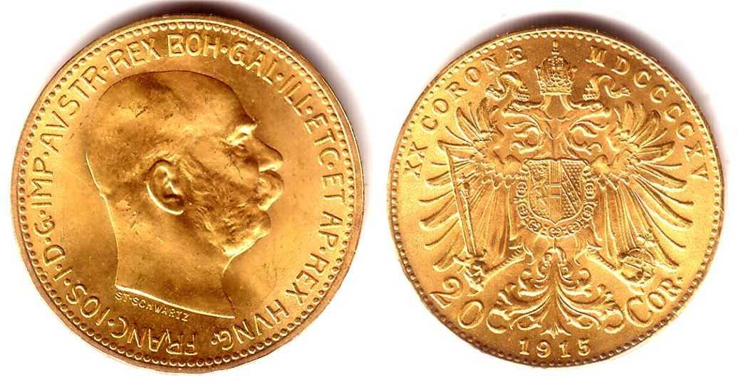 20 kronen österreich goldmünze kaiser franz joseph 1915