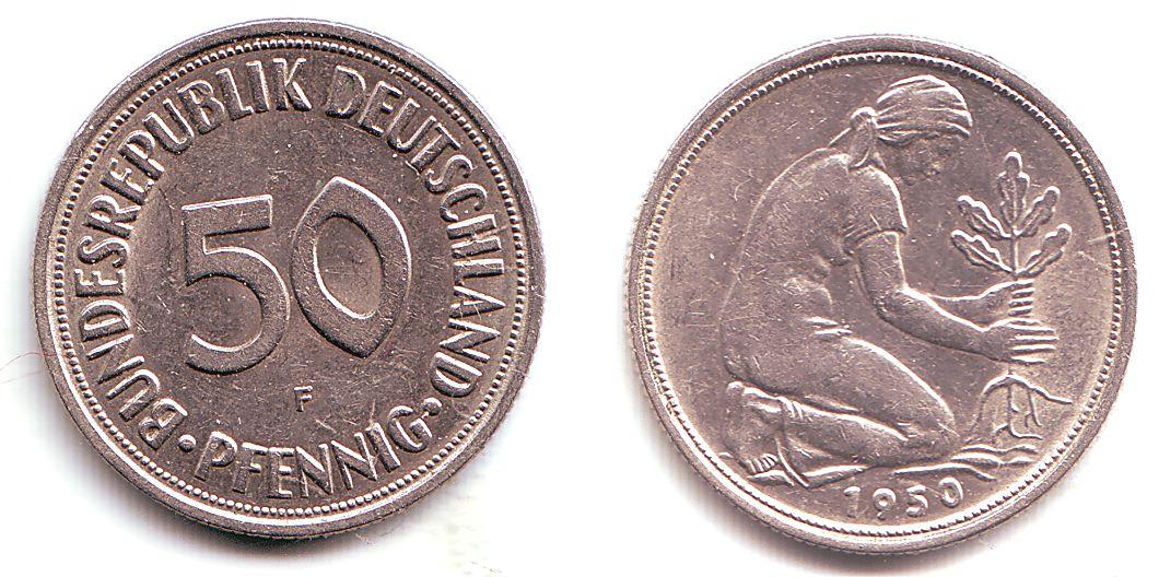 50 Pfennig 1950 F Brd 50 Pfennig Bundesrepublik Deutschland Sup