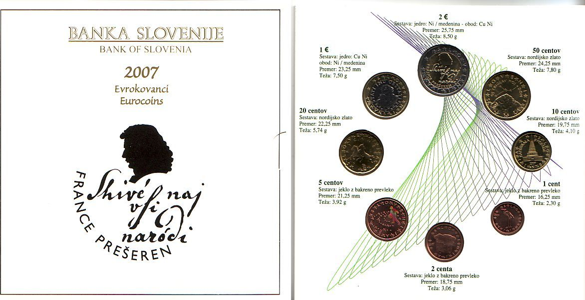 Kms 1 Cent 2 Euro 2007 Slowenien Kursmünzsatz Slowenien 2007 Im