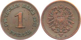 1 Pfennig 1875 A Kaiserreich 1 Pfennig - kleiner Adler f.st