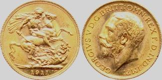 1 Sovereign 1911 Großbritannien Georg V. bankfrisch