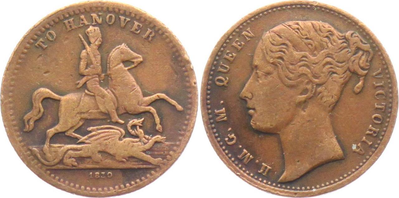 Token/ Jeton 1837 Großbritannien Queen Victoria (1831-1901)  to Hannover VF
