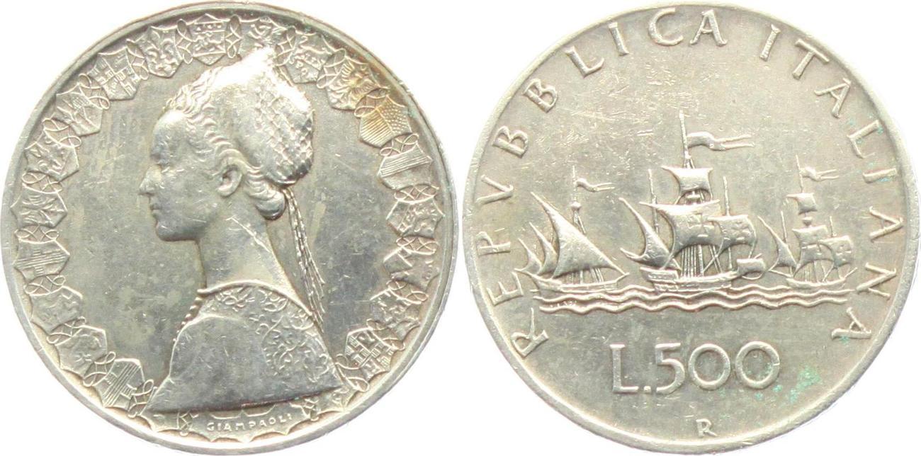 500 Lire 1961 Italien Segelschiff Flotte Des Kolumbus Ttb Ma Shops