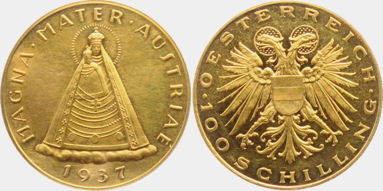 100 Schilling 1937 österreich Madonna Von Mariazell Magna Mater