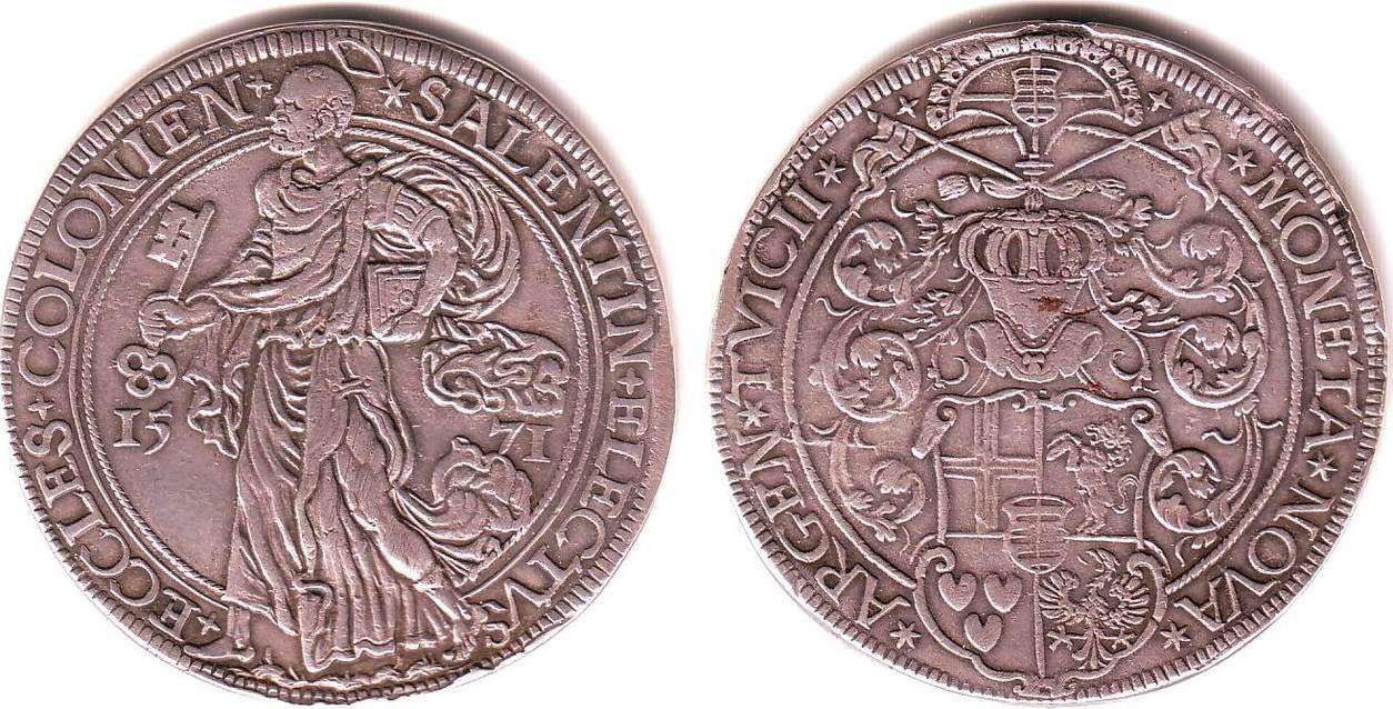 reichstaler 1571 k ln erzbistum salentin von isenburg 1567 1577 vf ma shops. Black Bedroom Furniture Sets. Home Design Ideas