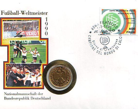 1 Mark Auf Numisbrief 1990 D Deutschland Fussball Weltmeisterschaft 1990 In Italien 1 Mark Auf Numisbrief Unc