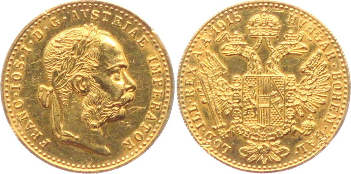 1 Dukat 1915np österreich Kaiser Franz Joseph Mit Lorbeerkranz Ttb