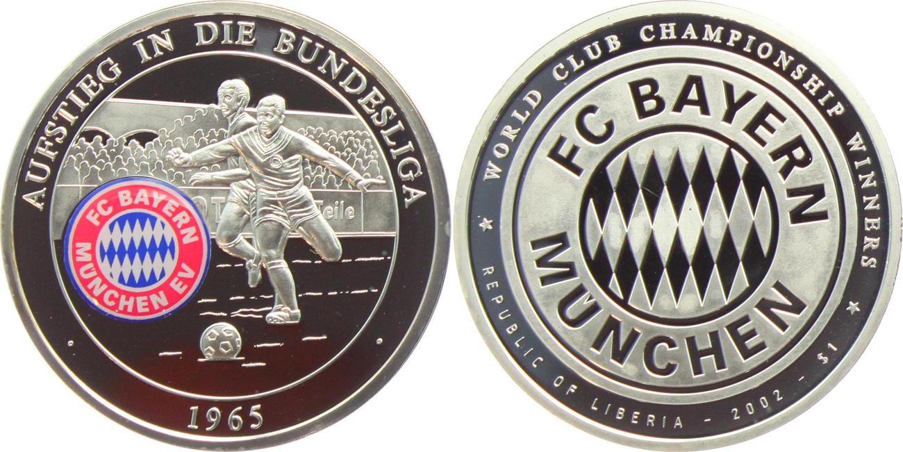 Medaille 2002 Munchen Fussball Fc Bayern Munchen Mit Farblogo Aufstieg In Die Bundesliga 1965 Proof