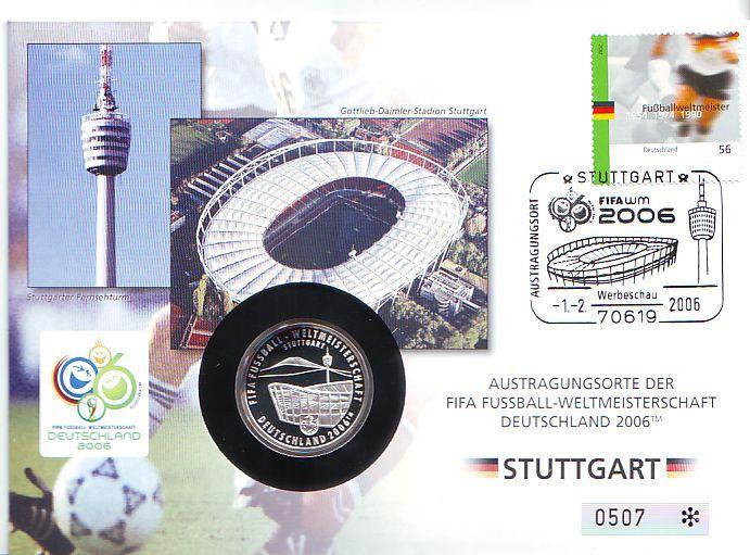 Nummerierter Numisbrief Medaille 2005 Deutschland Fussball Wm 2006 In Deutschland Austragungsort Stuttgart Proof Mit Dunkler Patina