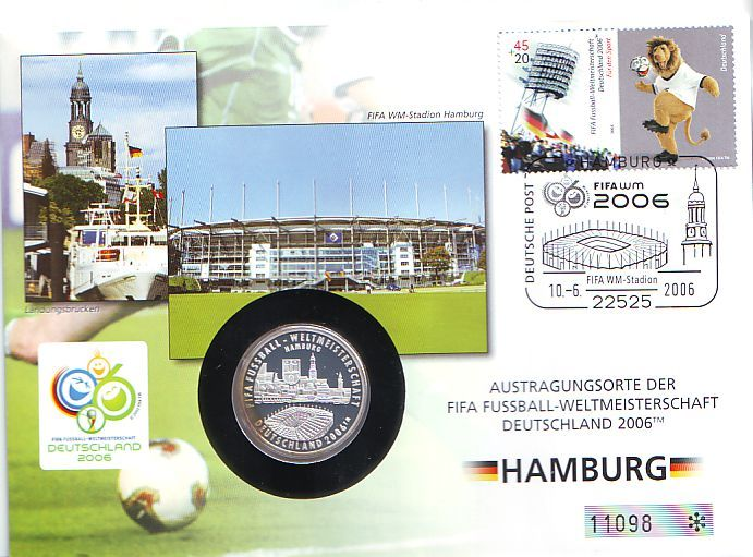 Nummerierter Numisbrief Medaille 2005 Deutschland Fussball Wm 2006 In Deutschland Austragungsort Hamburg Proof Mit Dunkler Patina