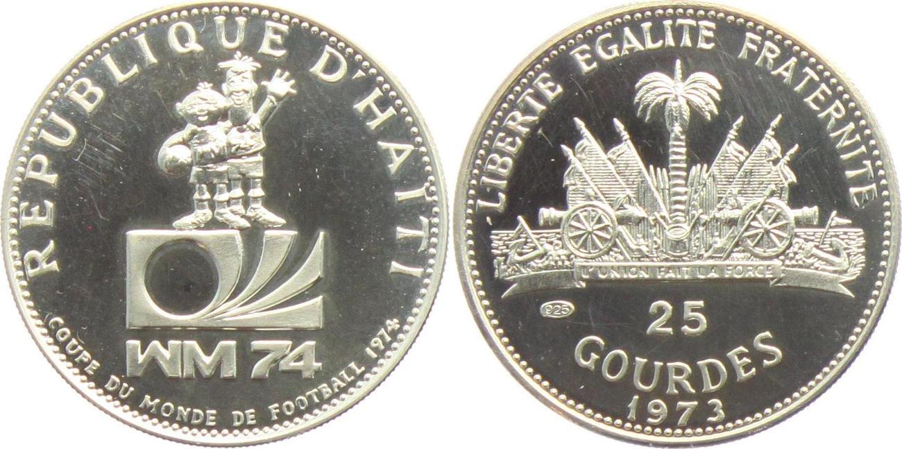 25 Gourdes 1974 Haiti Fussball Wm 1974 Maskottchen Ex Proof