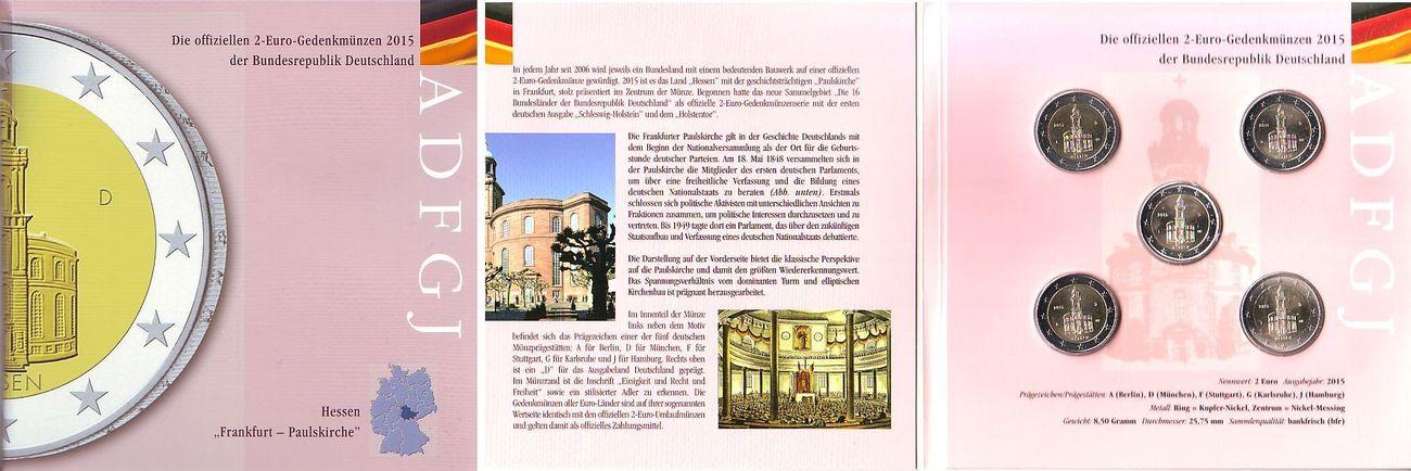 Kms 5 X 2 Euro Im Folder 2015 Hessen Kms 5 X 2 Euro Adfgj