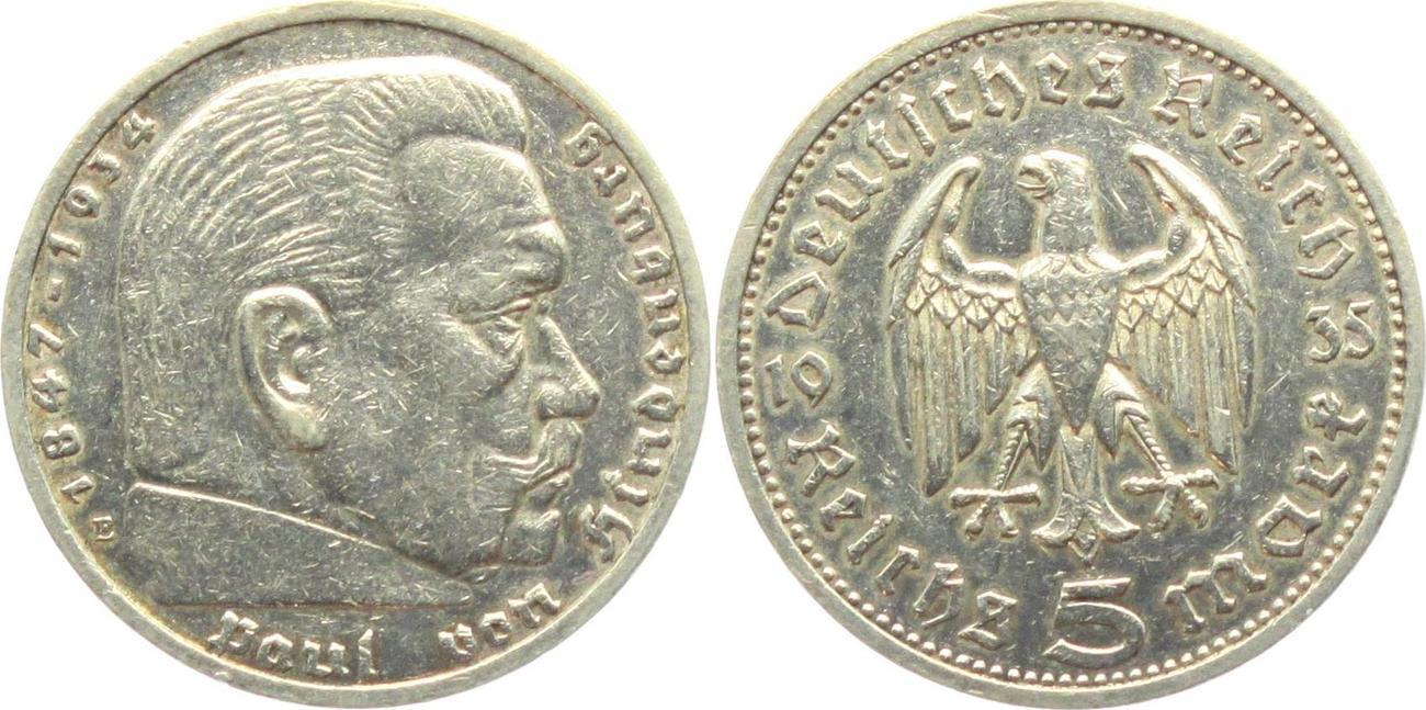5 Reichsmark 1935 E Drittes Reich Hindenburg Mit Reichsadler Ttb