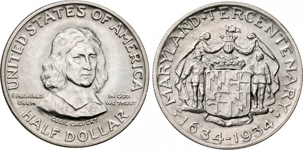 1/2 Dollar 1934 USA Half Dollar - Maryland CH UNC