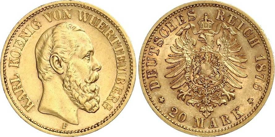 20 Mark 1876 F Württemberg König Karl Von Württemberg 1864 1891 Ef