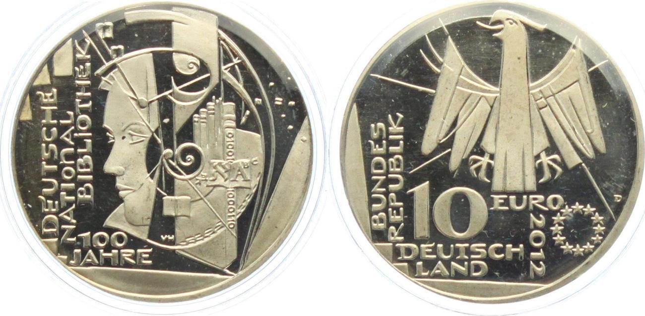 10 Euro 2012 Deutschland 100 Jahre Deutsche Nationalbibliothek Unc