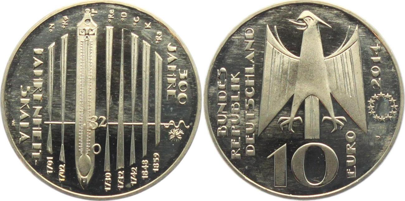 10 Euro 2014 Deutschland 300 Jahre Fahrenheit Skala Unc Ma Shops
