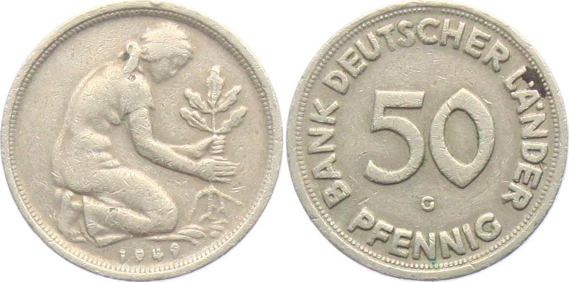 50 Pfennig 1949 G Brd Bank Deutscher Länder Vf Ma Shops