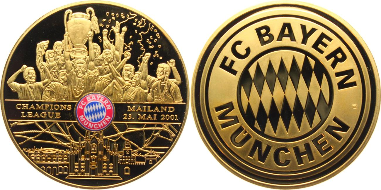 Medaille 2001 Bayern Gedenkpragung Fc Bayern Munchen Fussball Champions League Mailand Winner Pp Farbig