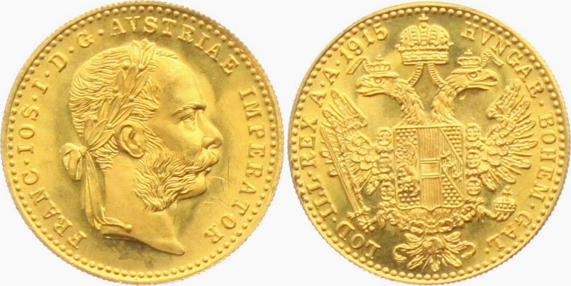 1 Dukat 1915np österreich Kaiser Franz Joseph Mit Lorbeerkranz Vf