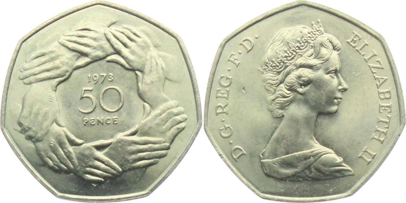 50 Pence 1973 Großbritannien Hände BU (MS65-70)