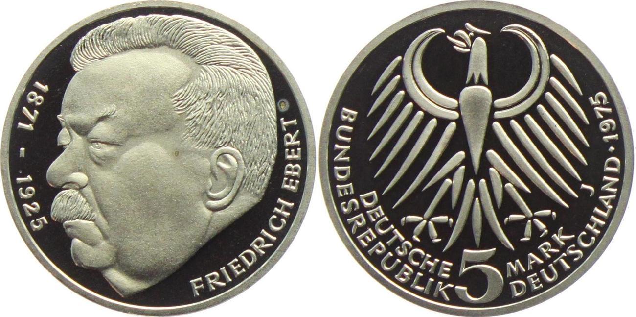 5 Mark 1975 Deutschland Brd Friedrich Ebert Proof In Kapsel Ma Shops