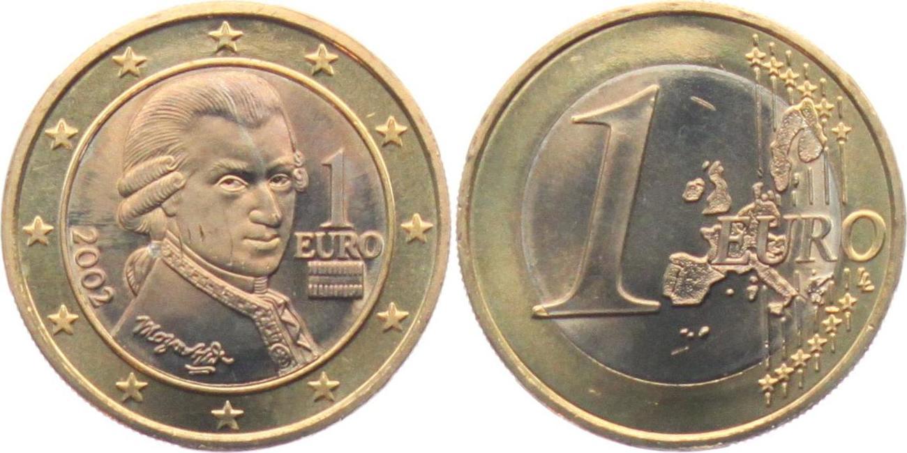 1 Euro 2002 österreich Wolfgang Amadeus Mozart Bankfrisch Bfr