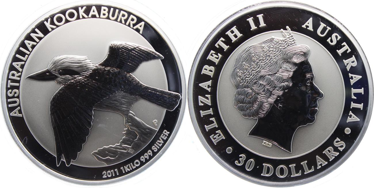 30 Dollar 2011 Australien 1 Kilo Silber Münze Kookaburra Bu Ms65