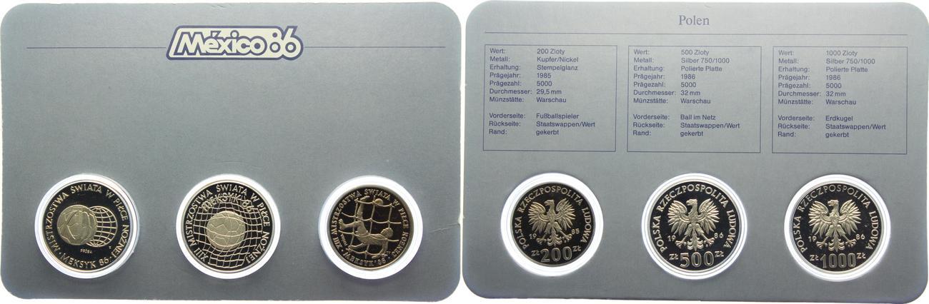 1700 Zloty 3 Münzen 200 500 1000 Zloty 1985 Polen Fussball Wm