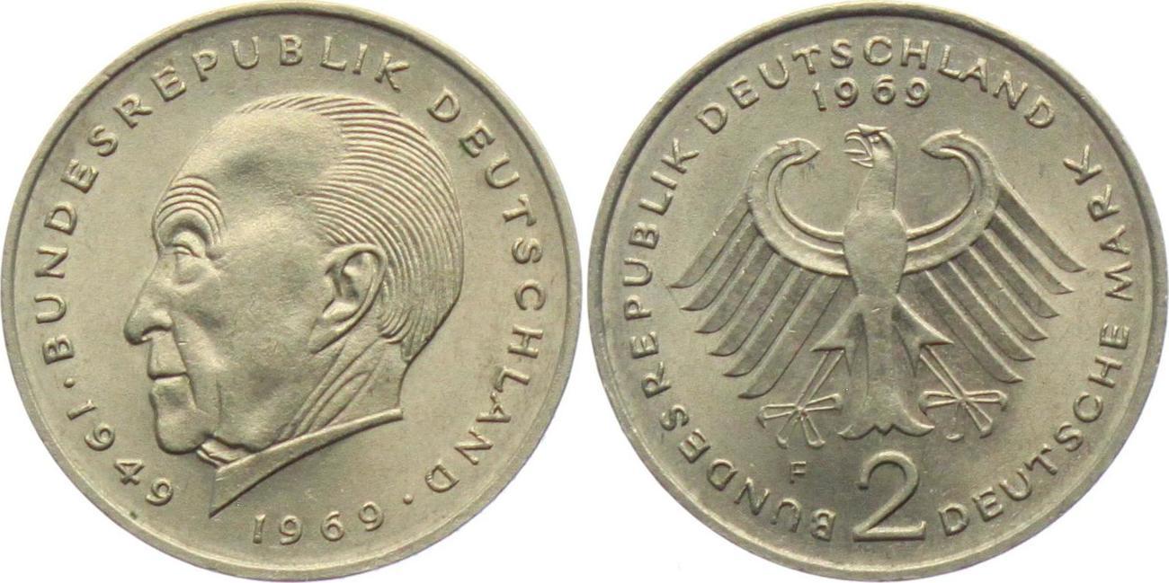 2 Mark 1969 F Deutschland Brd 2 Mark Konrad Adenauer Prägefrisch
