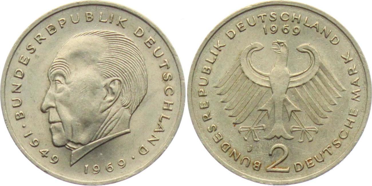 2 Mark 1969 J Deutschland Brd 2 Mark Konrad Adenauer Ef Ma Shops