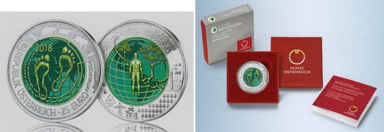 25 Euro 2018 österreich Anthropozän Silber Niob Münze Hg Mit Box